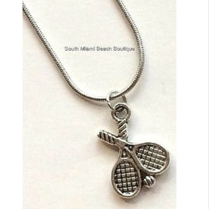 "Silver Tennis Ball Racquet Necklace 18"" Sports Mom"